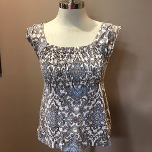 Tommy Hilfiger Paisley BabyDoll Ruched Tank Top